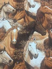 Horses Southwestern Sundance Cotton Fabric Quilt Sew OOP 1.3 Total Yards
