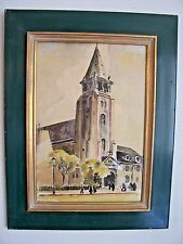 Vintage Watercolor Church Painting Signed Hand Painted Green & Gold Wood Framed
