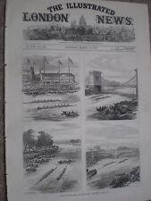 Oxford Cambridge University Boat Race muerto calor 1877 antiguos impresión ref W