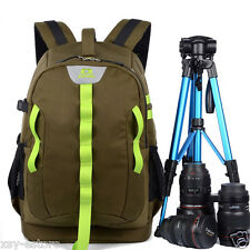 DSLR SLR Army Green Large Space Travel Photography Backpack for Nikon Camera Bag