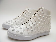 WOMENS JEFFREY CAMPBELL SKULL SK8R HI TOP WHITE LEATHER SNEAKERS SHOES SZ 7 M 7M