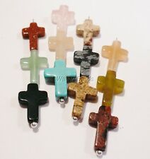 Gem Stone Cross Pendant Assorted 10 Colors/Crucifix Turquoise Jade Quarz Onyx