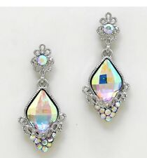 "1.75"" Long Silver Clear Aurora Borealis AB Austrian Crystal Pageant Earrings"