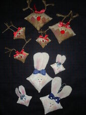 MINIATURE LOG CABIN CHRISTMAS REINDEER/RUDOLPH  BUNNY ORNAMENT PIN QUILT PATTERN