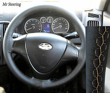 FOR HYUNDAI COUPE 1999-2008 REAL BLACK LEATHER STEERING WHEEL COVER BEIGE STITCH