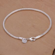 New Women Fashion 925 Sterling Silver Plated 3MM Snake Chain Bracelets Jewelry