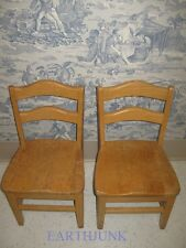 Pair of  Vintage Child's Sturdy Golden Solid Oak Sunday School Chairs