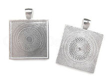 """100 Pack - 1"""" Square Pendant Trays - Shiny Silver Color - 25mm - Jewelry Setting"""