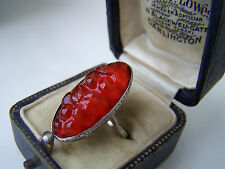 GORGEOUS RARE ANTIQUE STERLING SILVER FLORAL CARVED HOLLY BERRIES RING SIZE L