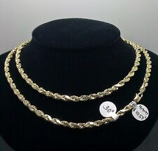 "10K Yellow Gold Rope Chain With Diamond Cuts 4mm 30"" 9.4gm Italian, Franco"