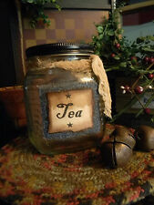 Primitive Vintage Look Shabby Country Glass TEA Bag Cupboard Jar Kitchen Cute