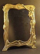 VINTAGE ~ ART NOUVEAU ~ BRASS  FRAMED DRESSING TABLE MIRROR