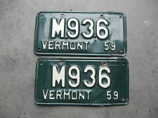 1959 59 VERMONT VT LICENSE PLATE MOTORCYCLE MC LICENSE PLATE PAIR NICE # M936