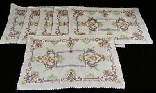 6 Vintage Embroidered Linen Placemats  Cross stitched Table Linens (B)