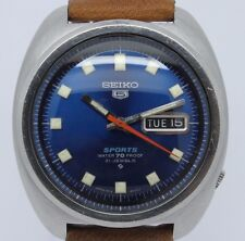 VINTAGE Seiko 5 Sports Automatic Mens Stainless Steel 6119-8310 Great Blue Dial