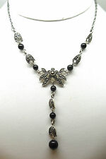 STERLING SILVER BLACK ONYX AND MARCASITE NECKLACE RETAIL $149