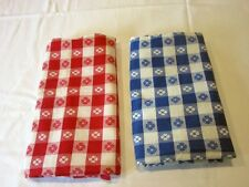 2 Vtg open Feedsack Checkered with Flowers Red & Blue White 37 x 42 - 46