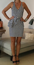 TALULAH Black & White Cotton Stretch Zig Zag Dress S UK8-10