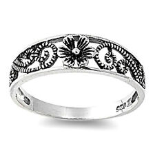 Silver Flower Ring Sterling Silver 925 Best Deal Plain Jewelry Gift Size 10