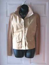 NEW ~ MASSINI ~ Suede Pig Leather and Knit Beige Jacket ~ SMALL / MEDIUM