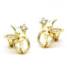 14k Gold Plated Fairy Angel Children Screw Back Baby Girls Earrings