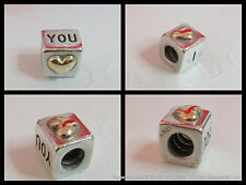 BOX OPT Genuine PANDORA SS/14k Gold I LOVE YOU Heart cube Charm 790200 S925ALE