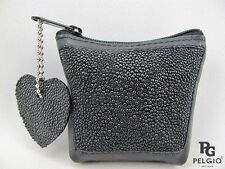 PELGIO Real Genuine Stingray Skin Leather Zip Coins Wallet Pocket Purse Black