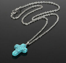 Women's Turquoise Crystal Gemstone Cross Religious Necklace