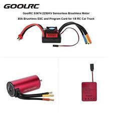 GoolRC S3674 2250KV Brushless Motor 80A ESC Program Card for 1/8 RC Car O1H0