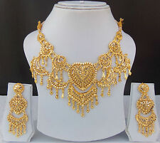 Indian Bollywood Bridal Jewelry 22k Gold Plated Fashion Necklace Earrings Set
