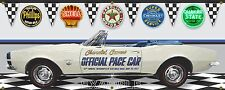 1967 CHEVY CAMARO SS WHITE INDY 500 PACE CAR GARAGE SCENE BANNER SIGN ART 2X5