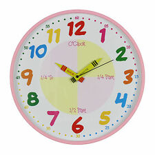 Hometime Teach The Time Colourful Wall Clock, 30cm, Multi-Colour W7503P
