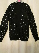 BLACK STUDDED OPENFRONT KNIT GIRLS CARDIGAN/TOP  BN, 11-12YEARS