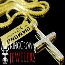 Real 10K Yellow Gold Genuine Diamond Jesus Cross Mens Mini Charm Pendant 1.25""