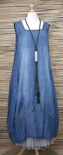 LAGENLOOK OVERSIZED BALLOON 2 POCKETS LONG DRESS***DENIM BLUE***BUST UP TO 50""
