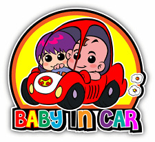 "Baby In Car Funny Cartoon Warning Sign Car Bumper Sticker Decal 5"" x 5"""