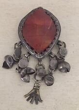 Vtg Antique CARVED ORANGE Apricot JADE Necklace  PENDANT Silver Bells 29g