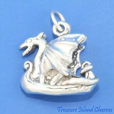 VIKING SHIP BOAT WITH DRAGON HEAD NORDIC 3D .925 Solid Sterling Silver Charm