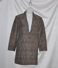 Dialogue Button Front Jacquard Stretch Jacket Size 20W Brown Multi