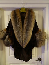 Brown Sheared Mink Cape with Crystal Fox Wide Tuxedo Collar and Sleeve Trim