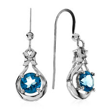 2.00 Carat Blue Topaz Earrings in Sterling Silver