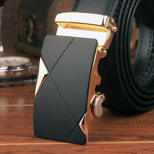Luxury Leather Men's Automatic Buckle Fashion NO Waist Strap Belt Gold