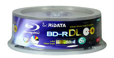 10 Ritek 50GB BD-R DL 6x Blu-ray Discs White Inkjet Printable w/ Sleeve USA
