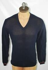 AUTH $755 Gucci Men Navy V Neck Cotton Sweater M