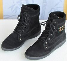 38 (US 7.5)- Tecnica Womens Black Suede Leather Flat Ankle Lace Up Boots Shoes
