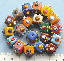 20 x mix colourful, bumpy cubes,  lampwork, glass beads, 90 gms   89