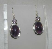 Cabochon Oval Amethyst Dangle Earrings with Faceted Amethyst Sterling Silver