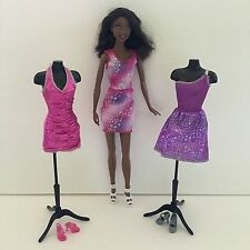 BARBIE CLOTHES LOT Fashionista Outfits Dress Shoes Silver Pink Purple (NO DOLL)