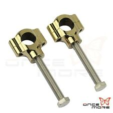 "Old School Finned Solid Brass 25mm Handlebar Risers For Harley Davidson 1"" Bar"