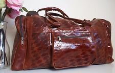 HANDMADE REAL LEATHER BROWN DUFFLE TRAVEL WEEKEND BAG OVERNIGHT LUGGAGE